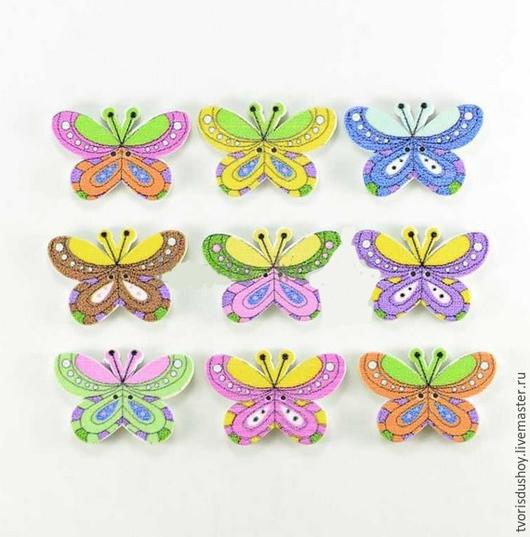 """Куклы и игрушки ручной работы. Ярмарка Мастеров - ручная работа. Купить Пуговица деревянная """"Бабочка""""1. Handmade. Разноцветный, бабочка"""