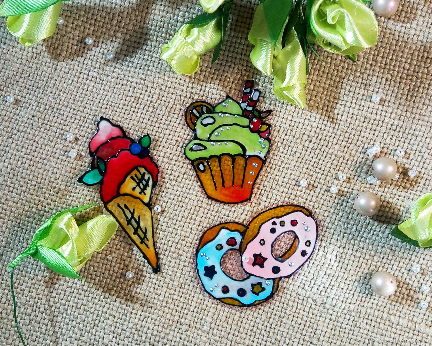 Stained glass stickers-stickers with desserts, Stickers, Novosibirsk,  Фото №1