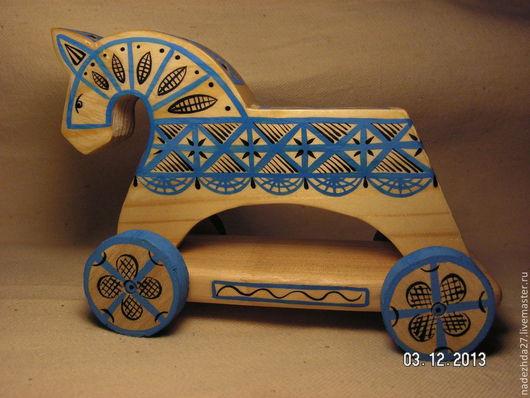 Игрушки животные, ручной работы. Ярмарка Мастеров - ручная работа. Купить лошадка на колёсиках. Handmade. Новый год 2014, лошадки