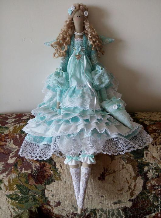 Куклы Тильды ручной работы. Ярмарка Мастеров - ручная работа. Купить Бирюзовый ангел тильда ручной работы. Handmade.