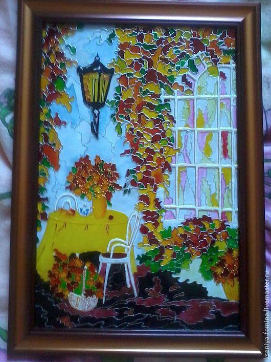 Картина выполнена по мотивам Л.Афремова в технике витражной росписи. Станет прекрасным дополнение в интерьере Вашего дома.