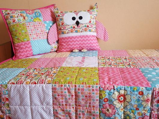 Пледы и одеяла ручной работы. Ярмарка Мастеров - ручная работа. Купить Детское лоскутное покрывало на кровать. Handmade. Комбинированный