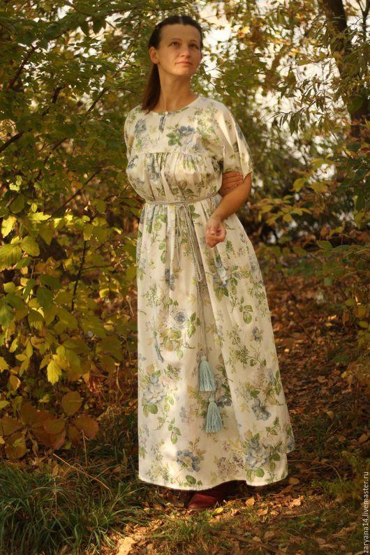 Платья ручной работы. Ярмарка Мастеров - ручная работа. Купить Платье сатиновое домашнее. Handmade. Разноцветный, платье в пол, сатин