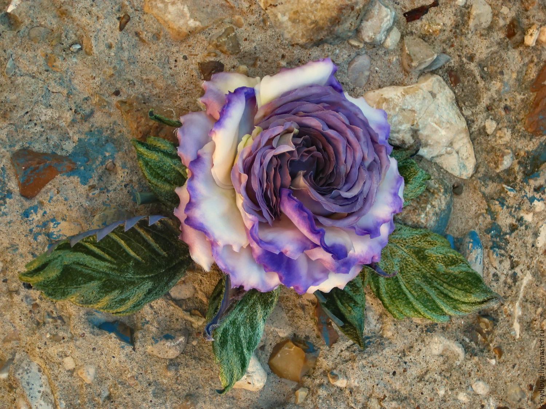 Flowers of fabric rose brooch silk 'Purple haze', Brooches, Lyubertsy,  Фото №1