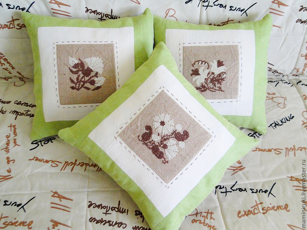 Декоративные подушки своими руками с вышивкой