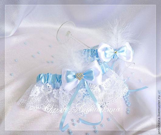 """Одежда и аксессуары ручной работы. Ярмарка Мастеров - ручная работа. Купить Комплект подвязок """"Версаль"""" (голубые). Handmade. Голубой, подвязка"""