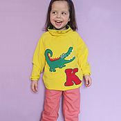 """Работы для детей, ручной работы. Ярмарка Мастеров - ручная работа """"Крокодил"""". Толстовка и джинсы. Handmade."""