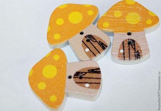 Шитье ручной работы. Ярмарка Мастеров - ручная работа. Купить пуговицы деревянные грибочки. Handmade. Коричневый, пуговицы грибочки, Декор