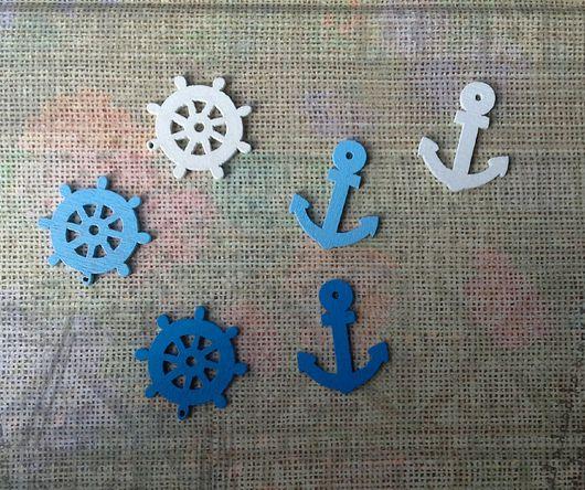 Для украшений ручной работы. Ярмарка Мастеров - ручная работа. Купить Морские знаки -якорь, штурвал. Handmade. Белый