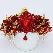 Украшения handmade. Livemaster - original item Red and gold Dolce headband crown Beaded tiara Red royal diadem. Handmade.