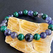 Украшения handmade. Livemaster - original item Bracelet Magic: Iolite, Merlinite, Malachite. Handmade.