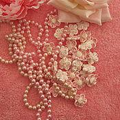 "Материалы для творчества ручной работы. Ярмарка Мастеров - ручная работа Цветок с пуговкой ""Pink n` white"" 25мм. Handmade."