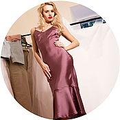 Одежда ручной работы. Ярмарка Мастеров - ручная работа Фиолетовое платье-комбинация с воланом. Handmade.
