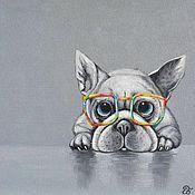 Картины ручной работы. Ярмарка Мастеров - ручная работа Картина с собакой Я тебя вижу, холст, масло, французский бульдог. Handmade.