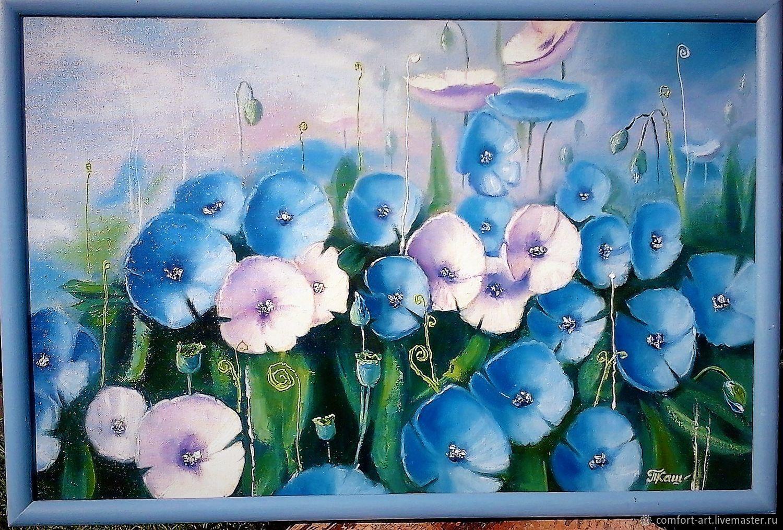 "Картина маслом синие цветы ""Синие маки"", Картины, Каменка, Фото №1"