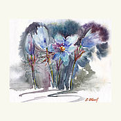 Картины и панно ручной работы. Ярмарка Мастеров - ручная работа Акварель. Акварельная картина. Цветы. Сон-трава. Handmade.
