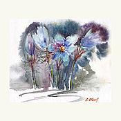 Картины и панно handmade. Livemaster - original item Watercolor. Watercolor painting. Flowers. Sleep-grass. Handmade.