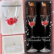 """Свадебный салон ручной работы. Ярмарка Мастеров - ручная работа Свадебные бокалы """"Морозные розы"""". Handmade."""