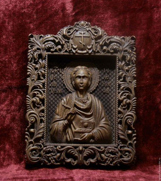 Иконы ручной работы. Ярмарка Мастеров - ручная работа. Купить Резная Икона из дерева - Святой великомученик и целитель Пантелеймон. Handmade.