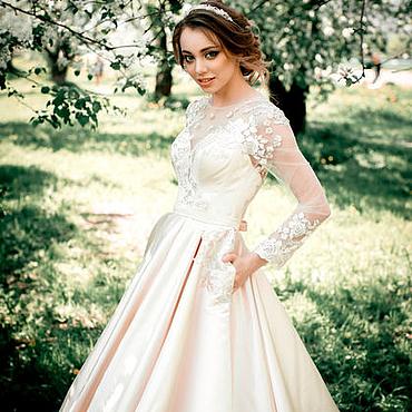 Свадебный салон ручной работы. Ярмарка Мастеров - ручная работа Свадебное платье атласное. Handmade.