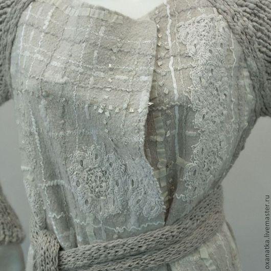 Кофты и свитера ручной работы. Ярмарка Мастеров - ручная работа. Купить Валяный кардиган. Handmade. Бежевый, осень-зима, пряжа
