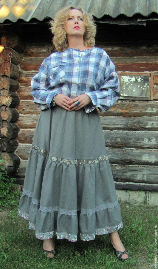 """Юбки ручной работы. Ярмарка Мастеров - ручная работа. Купить Длинная юбка """"Добрая"""". Handmade. Серый, юбка в храм"""