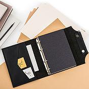 Канцелярские товары handmade. Livemaster - original item Men`s leather diary on the rings, pocket sewn by hand seam. Handmade.