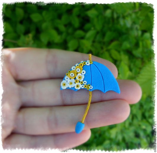 """Броши ручной работы. Ярмарка Мастеров - ручная работа. Купить Брошь """"Зонтик""""(голубой). Handmade. Комбинированный, зонты, детская брошь"""