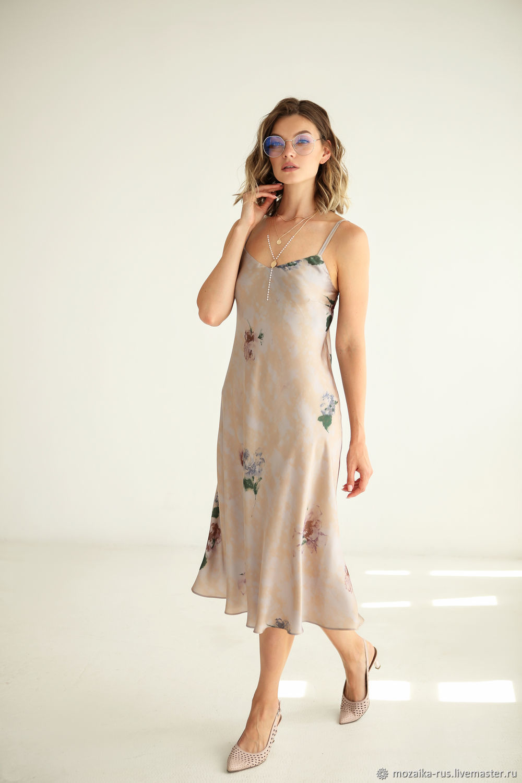 MIDI dress silk Watercolor, dress combination beige, Dresses, Novosibirsk,  Фото №1