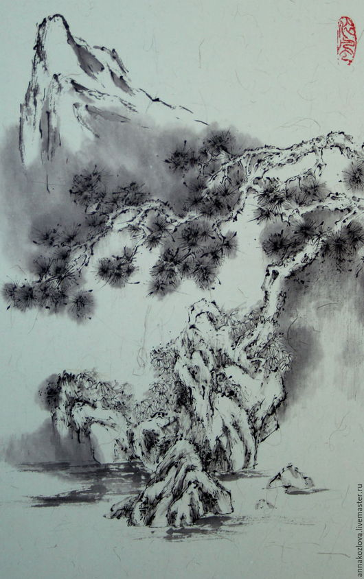 Пейзаж ручной работы. Ярмарка Мастеров - ручная работа. Купить картинаИ гора вдалеке(китайская живопись графика сосна пейзаж дерево. Handmade.
