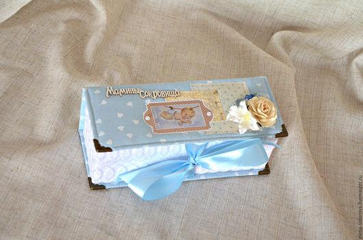"""Подарки для новорожденных, ручной работы. Ярмарка Мастеров - ручная работа. Купить Шкатулочка """"Мамины сокровища"""" для мальчика 3в1. Handmade. Голубой"""