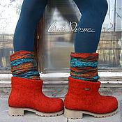 """Обувь ручной работы. Ярмарка Мастеров - ручная работа Валяные ботинки """" Терракота """". Handmade."""