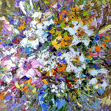 """Картины и панно ручной работы. Ярмарка Мастеров - ручная работа Картина """"Букет с Белыми лилиями"""" картина лилии маслом. Handmade."""