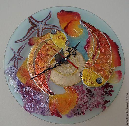 """Часы для дома ручной работы. Ярмарка Мастеров - ручная работа. Купить Настенные часы  """"Золотые рыбки"""". Handmade. Бирюзовый, интерьер"""