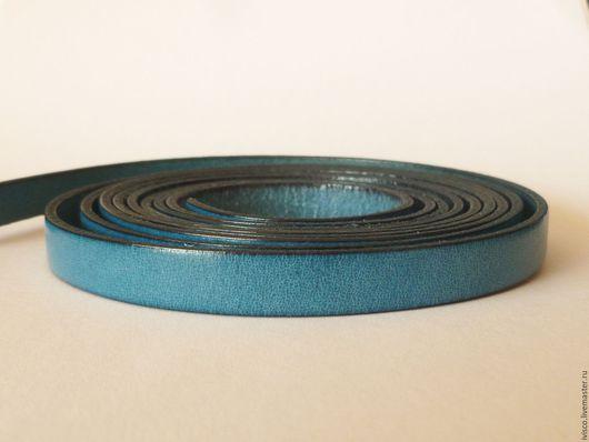 Для украшений ручной работы. Ярмарка Мастеров - ручная работа. Купить Кожаный шнур 10х2мм темно-бирюзовый (petrol, teal). Handmade.