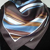 Винтаж ручной работы. Ярмарка Мастеров - ручная работа Косынка диагональ в коричневых тонах 50х50. Handmade.