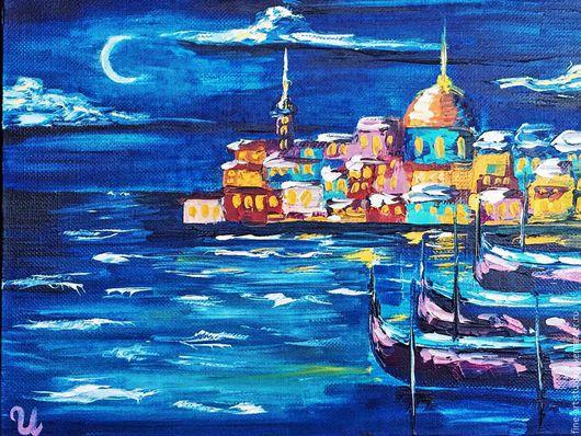 Город ручной работы. Ярмарка Мастеров - ручная работа. Купить Городской пейзаж Ночная Венеция, масло. Handmade. Синий, венеция