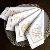 Для дома и интерьера handmade. Livemaster - original item Christmas napkins with embroidery