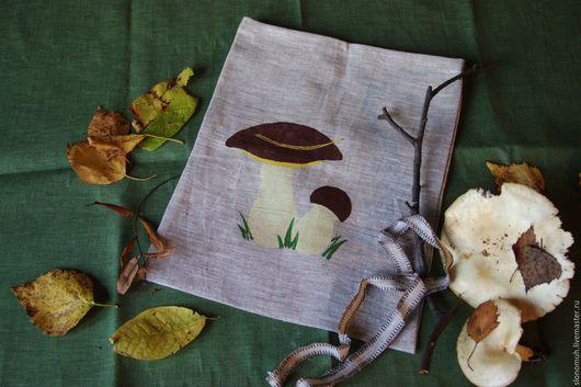 Кухня ручной работы. Ярмарка Мастеров - ручная работа. Купить Мешочек для сушеных грибов «Белый гриб». Handmade. Серый