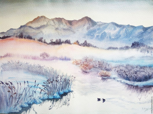 Пейзаж ручной работы. Ярмарка Мастеров - ручная работа. Купить Зимний пейзаж. Handmade. Голубой, пейзаж, пейзаж акварелью
