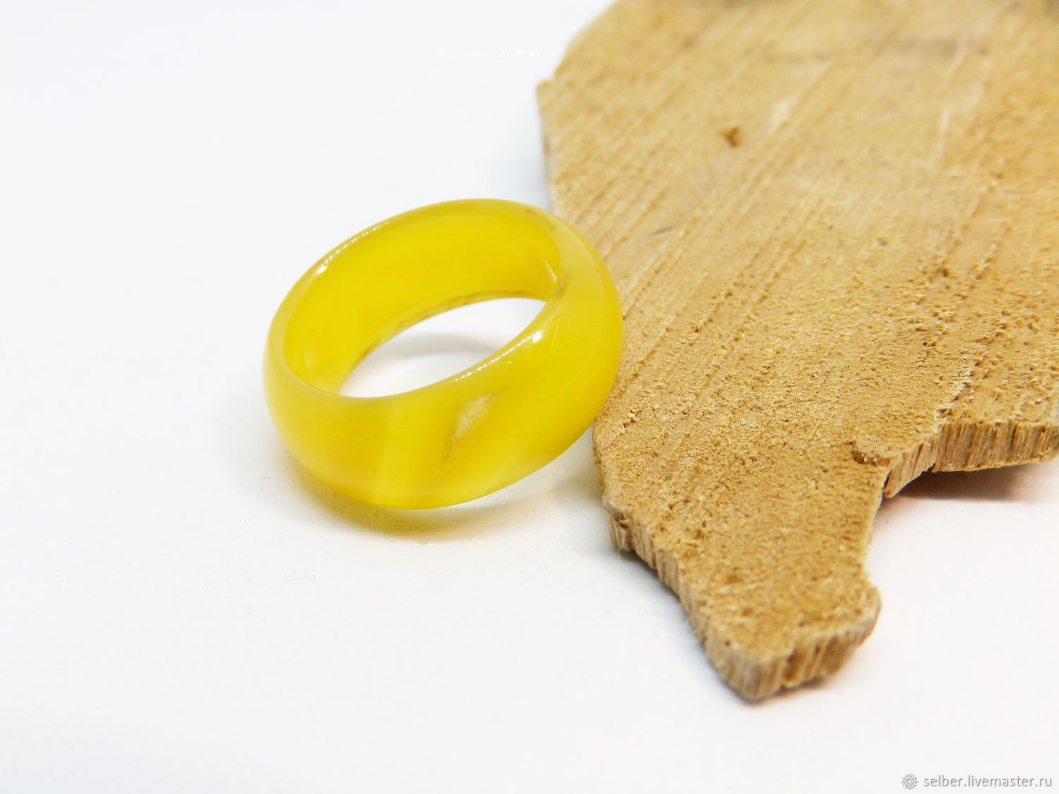 Wide ring in yellow agate 17 size, Rings, Gatchina,  Фото №1