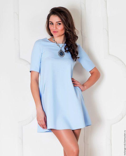 Платья ручной работы. Ярмарка Мастеров - ручная работа. Купить Голубое платье-трапеция. Handmade. Голубой, платье-трапеция