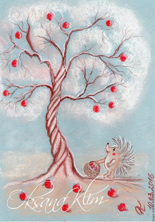 """Фантазийные сюжеты ручной работы. Ярмарка Мастеров - ручная работа. Купить Картина """"Райские яблочки"""" Проект """"Весенние сказки"""". Handmade."""