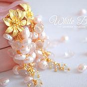 Украшения handmade. Livemaster - original item Rose quartz and Pearl cluster earrings, Gold schwenz flower. Handmade.