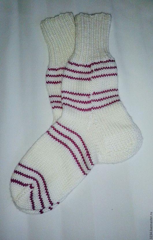 Носки, Чулки ручной работы. Ярмарка Мастеров - ручная работа. Купить Носки ручной работы. Handmade. Белый, носки спицами