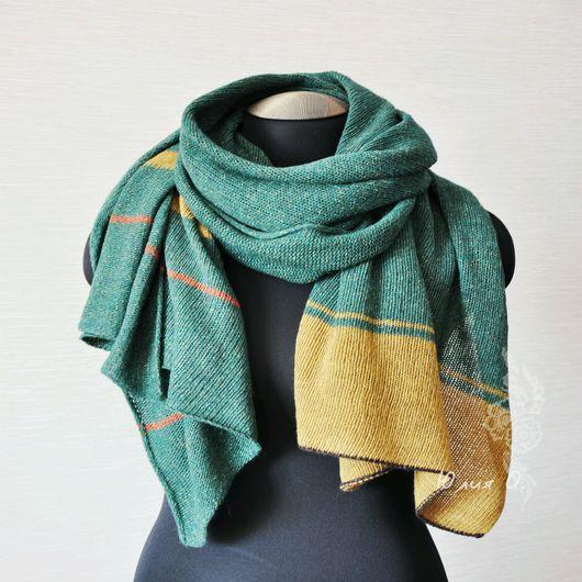Шарфы и шарфики ручной работы. Ярмарка Мастеров - ручная работа. Купить Теплый палантин шарф вязаный твид зеленый в полоску. Handmade.