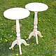 Мебельная заготовка высокого круглого столика из массива сосны для самостоятельного декора, росписи, декупажа. Столик может использоваться в качестве подставки для цветов.