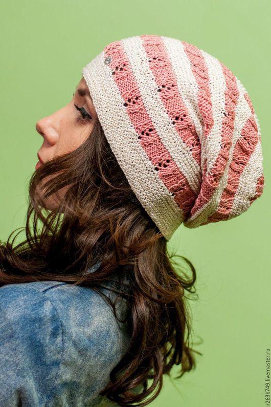 Шапки ручной работы. Ярмарка Мастеров - ручная работа. Купить Весенне - летняя шапка. Handmade. Комбинированный, полосатая шапочка
