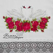 """Свадебный салон ручной работы. Ярмарка Мастеров - ручная работа Свадебный рушник """"под каравай"""" бордовые розы. Handmade."""