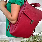 handmade. Livemaster - original item Large leather backpack Crimson. The urban leather backpack. Handmade.